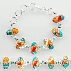 49.46cts spiny oyster arizona turquoise 925 silver tennis bracelet r27437