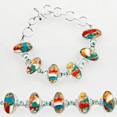 50.31cts spiny oyster arizona turquoise oval 925 silver tennis bracelet r27439