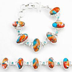 56.52cts spiny oyster arizona turquoise oval topaz 925 silver bracelet r72991