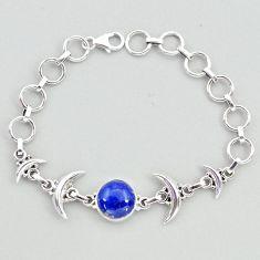Sterling silver 6.52cts tennis natural blue lapis lazuli moon bracelet t38847