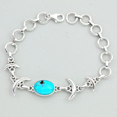 6.29cts tennis blue arizona mohave turquoise 925 silver moon bracelet t38827