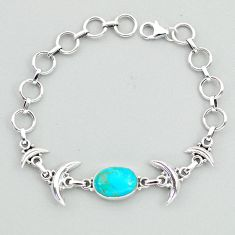 6.16cts tennis blue arizona mohave turquoise 925 silver moon bracelet t38828
