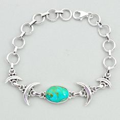 6.02cts tennis blue arizona mohave turquoise 925 silver moon bracelet t38830