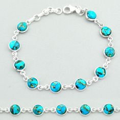 18.88cts tennis blue copper turquoise 925 sterling silver bracelet t40400
