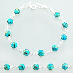 19.45cts tennis blue copper turquoise 925 sterling silver bracelet t40411