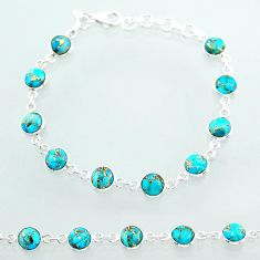 18.88cts tennis blue copper turquoise 925 sterling silver bracelet t40414