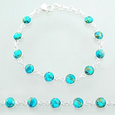 19.99cts tennis blue copper turquoise 925 sterling silver bracelet t40416