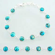 19.94cts tennis blue copper turquoise 925 sterling silver bracelet t40417
