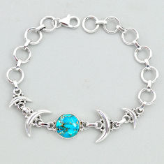 6.16cts tennis blue copper turquoise 925 sterling silver moon bracelet t38854
