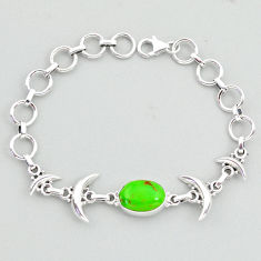 6.43cts tennis green copper turquoise 925 sterling silver moon bracelet t38849