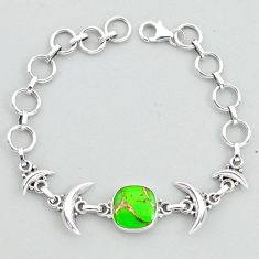 6.16cts tennis green copper turquoise 925 sterling silver moon bracelet t38851