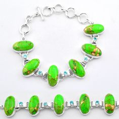 54.22cts tennis green copper turquoise topaz 925 sterling silver bracelet t37642