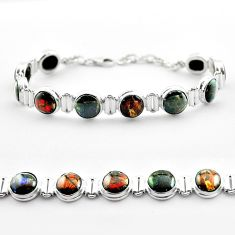 33.99cts tennis natural ammolite (canadian) 925 silver bracelet jewelry t45359