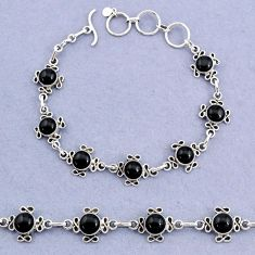 14.92cts tennis natural black onyx 925 sterling silver bracelet jewelry t8375