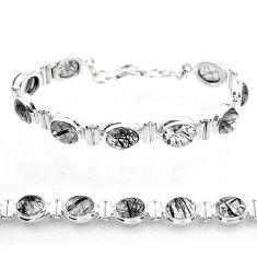 36.59cts tennis natural black tourmaline rutile 925 silver bracelet t50037