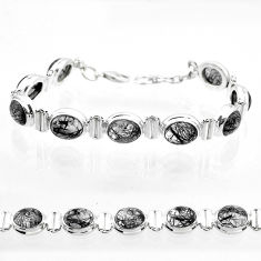 36.56cts tennis natural black tourmaline rutile oval 925 silver bracelet t50039