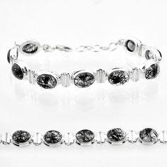 36.99cts tennis natural black tourmaline rutile oval 925 silver bracelet t50040