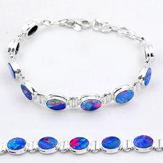 24.24cts tennis natural blue doublet opal australian 925 silver bracelet t37647