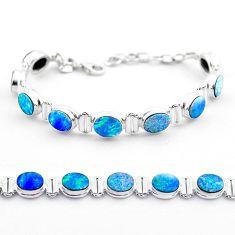 19.51cts tennis natural blue doublet opal australian 925 silver bracelet t45341