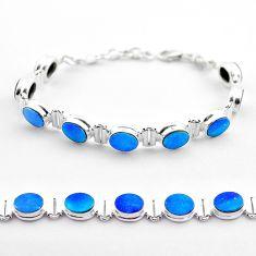 19.48cts tennis natural blue doublet opal australian 925 silver bracelet t45344