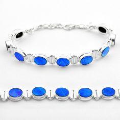 19.24cts tennis natural blue doublet opal australian 925 silver bracelet t45348