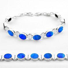 19.51cts tennis natural blue doublet opal australian 925 silver bracelet t45349