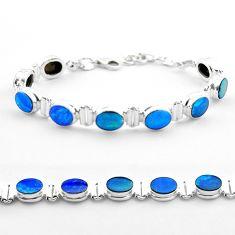 19.07cts tennis natural blue doublet opal australian 925 silver bracelet t45351