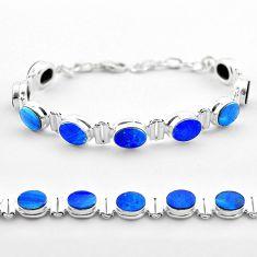 19.48cts tennis natural blue doublet opal australian 925 silver bracelet t45352