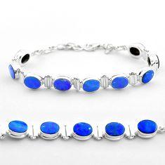 19.07cts tennis natural blue doublet opal australian 925 silver bracelet t45354