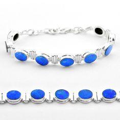 19.51cts tennis natural blue doublet opal australian 925 silver bracelet t45355