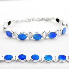19.24cts tennis natural blue doublet opal australian 925 silver bracelet t45357