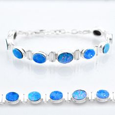 22.75cts tennis natural blue doublet opal australian 925 silver bracelet t47490