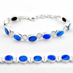 19.30cts tennis natural blue doublet opal australian oval silver bracelet t45345