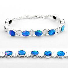 19.24cts tennis natural blue doublet opal australian oval silver bracelet t45353