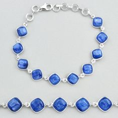 30.91cts tennis natural blue kyanite 925 sterling silver bracelet jewelry t48707