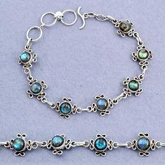 14.64cts tennis natural blue labradorite 925 sterling silver bracelet t8379