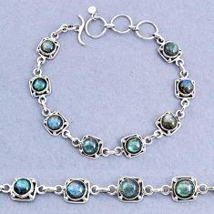 17.01cts tennis natural blue labradorite 925 sterling silver bracelet t8457
