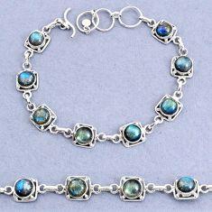 16.77cts tennis natural blue labradorite 925 sterling silver bracelet t8458
