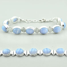 37.85cts tennis natural blue lace agate 925 sterling silver bracelet t55631
