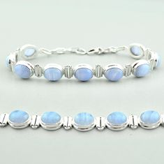 37.60cts tennis natural blue lace agate 925 sterling silver bracelet t55633
