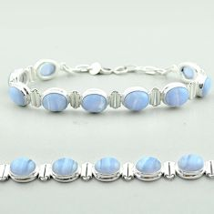 37.48cts tennis natural blue lace agate 925 sterling silver bracelet t55634