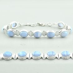 38.25cts tennis natural blue lace agate 925 sterling silver bracelet t55636