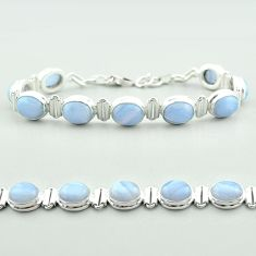37.60cts tennis natural blue lace agate 925 sterling silver bracelet t55638