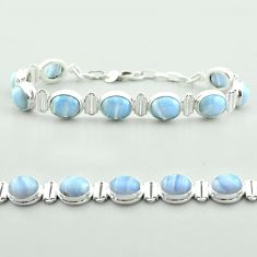 37.85cts tennis natural blue lace agate 925 sterling silver bracelet t55639