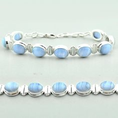 38.23cts tennis natural blue lace agate oval 925 sterling silver bracelet t55635