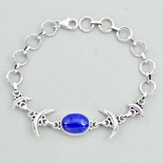 6.52cts tennis natural blue lapis lazuli 925 silver moon bracelet t38822