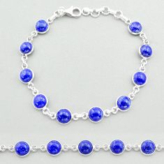 21.48cts tennis natural blue lapis lazuli 925 sterling silver bracelet t40301