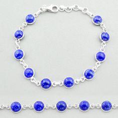 22.49cts tennis natural blue lapis lazuli 925 sterling silver bracelet t40303
