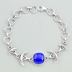 6.51cts tennis natural blue lapis lazuli sterling silver moon bracelet t38824