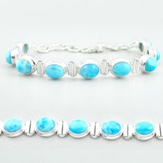 30.39cts tennis natural blue larimar 925 sterling silver bracelet jewelry t55041